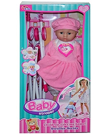 Adraxx Mock Baby Stroller Toy With Doll- Pink - 3 Years+