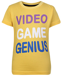 SAPS Short Sleeves T Shirt Yellow - Video Game Genius Print