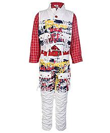 Formula 1 Full Sleeves Shirt Jacket And Trouser Set - White