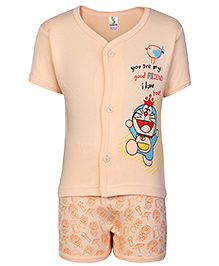 Cucumber Half Sleeves T Shirt and Shorts Set Orange - Good Friend Print