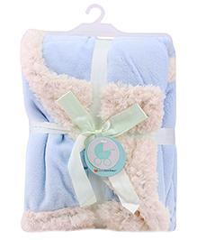 Piccolo Bambino Reversible Chamois Blanket- Baby Blue