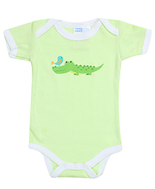 Honey Bunny Crocodile With Bird Print Onesies- Green