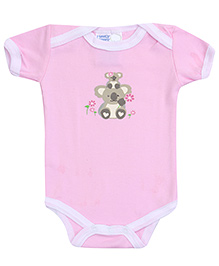 Honey Bunny Bear Print Onesies- Pink