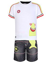 Kooka Half Sleeves T-Shirt And Denim Shorts Green - Fish Embroidery