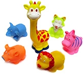 Marbles Squeeze Wild Animals Bath Toys - Set of 6