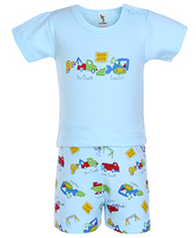 Cucumber Half Sleeves T Shirt And Shorts Vehicle Print - Blue