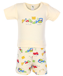 Cucumber Half Sleeves T Shirt And Shorts Vehicle Print - Yellow
