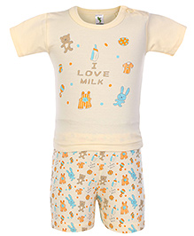 Cucumber Half Sleeves Night Suit I Love Milk Print - Yellow