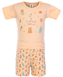 Cucumber Half Sleeves Night Suit I Love Milk Print - Orange