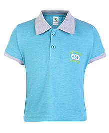 Cucumber Half Sleeves Polo T Shirt - Light Blue