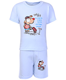 Cucumber Half Sleeves T Shirt And Shorts Blue - Doggy Print