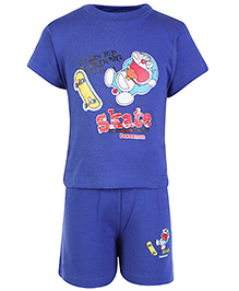 Cucumber Half Sleeves T Shirt And Shorts Navy Blue - Doraemon Print