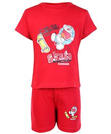Cucumber Half Sleeves T Shirt And Shorts Red - Doraemon Print