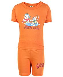 Cucumber Half Sleeves T Shirt And Shorts Orange - Pirate Gang Print
