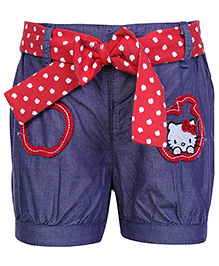 Hello Kitty Shorts with Apple Print Belt - Red and Blue