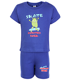 Cucumber Half Sleeves T Shirt And Shorts Blue - Monsters Rock Print