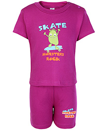 Cucumber Half Sleeves T Shirt And Shorts Purple - Monsters Rock Print