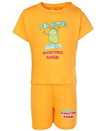 Cucumber Half Sleeves T Shirt And Shorts Yellow - Monsters Rock Print