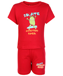 Cucumber Half Sleeves T Shirt And Shorts Red - Monsters Rock Print