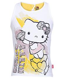 Hello Kitty Sleeveless Printed Top - White