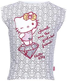 Hello Kitty Short Sleeves Top Grey - Kitty on Diamond Print