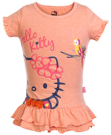 Hello Kitty Short Sleeves Top with Frill - Orange
