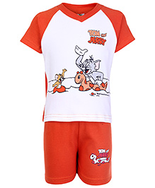 Cucumber Half Sleeves T Shirt And Shorts Orange - Tom And Jerry Print