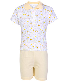 Cucumber Half Sleeves T Shirt And Shorts Yellow - Collar Neck