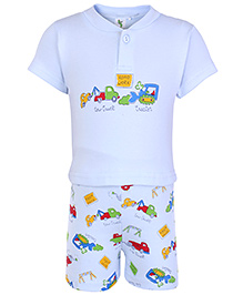 Cucumber Half Sleeves T Shirt And Shorts Blue - Road Work Print