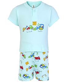 Cucumber Half Sleeves T Shirt And Shorts Aqua - Road Work Print