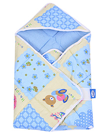 Little's Orange Happy Bears Printed Hooded Wrapper - Blue