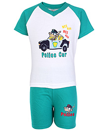 Cucumber Raglon Sleeves T Shirt And Shorts Green - Police Car Print