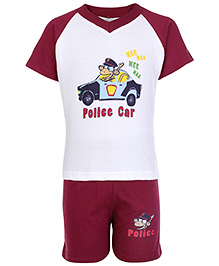 Cucumber Raglon Sleeves T Shirt And Shorts Maroon - Police Car Print