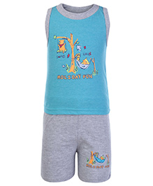 Cucumber Sleeveless T Shirt And Shorts Blue - Holiday Fun Theme