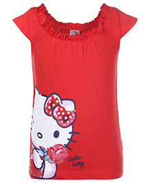 Hello Kitty Cap Sleeves Top with Kitty Face Print  - Red