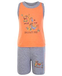 Cucumber Sleeveless T Shirt And Shorts Orange - Holiday Fun Theme