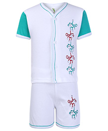 Cucumber Front Open T Shirt And Shorts White - Monkey Print