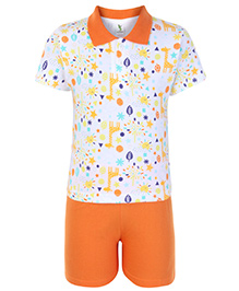 Cucumber Half Sleeves T Shirt And Shorts Orange - Stars And Moon Print
