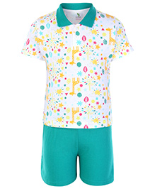 Cucumber Half Sleeves T Shirt And Shorts Green - Stars And Moon Print
