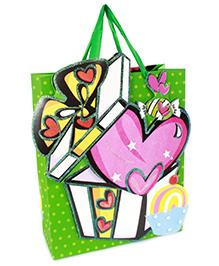 Fab N Funky Heart Print Gift Bag- Green