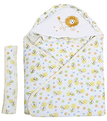 Babecare Multi Print Hooded Wrapper with Velcro Closure- Yellow