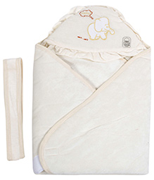 Babecare Hello and Elephan Print Hooded Wrapper with Velcro Closure- Cream