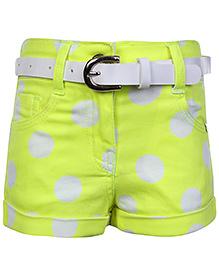 Tiny Girl Shorts With Belt Lemon Yellow - Polka Dot Print