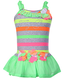 Tiny Girl Singlet Frock Stripe Print - Lime Green