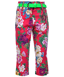 Tiny Girl Pink Capri With Green Belt - Floral Print