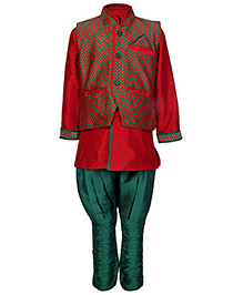 SAPS Full Sleeves Kurta With Jodhpuri Style Pajama - Red