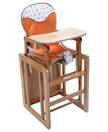 Fab N Funky Wooden High Chair - Orange