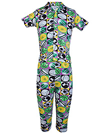 Ollypop Half Sleeves Printed Night Suit - Green