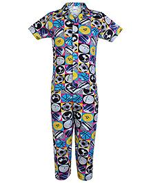 Ollypop Half Sleeves Printed Night Suit - Blue