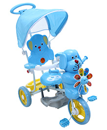 Fab N Funky Puppy Face Musical Tricycle with Canopy N Push Handle - Blue